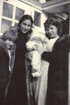 Age 5 months, eith her mother Frances (center) aunts Edith & Ethyl